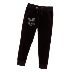 ANGEL'S FACE Girls Black Cotton Velour Tracksuit Trousers