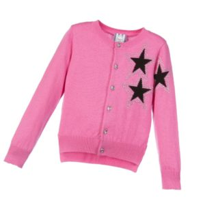 ANGEL'S FACE Girls Pink Cotton & Wool Cardigan with Black Stars