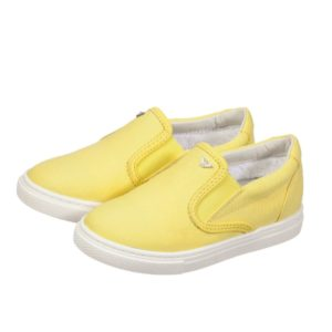 ARMANI JUNIOR Boys Yellow Canvas Trainers
