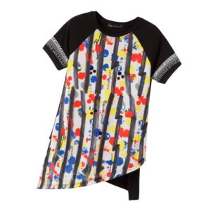 CESARE PACIOTTI Black, Red & Yellow Painted Print Tunic Top
