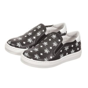 CESARE PACIOTTI Boys Black & White Logo Leather Trainers