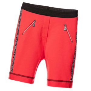CESARE PACIOTTI Boys Red Cotton Jersey Fleece Shorts with Zips