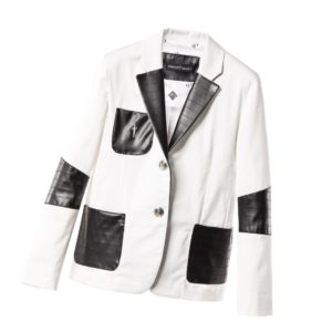 CESARE PACIOTTI Boys White & Black Patch Pocket Blazer