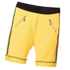 CESARE PACIOTTI Boys Yellow Cotton Jersey Fleece Shorts with Zips