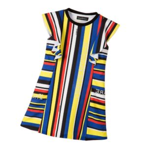 CESARE PACIOTTI Red, Yellow & Blue Striped & Beaded Dress