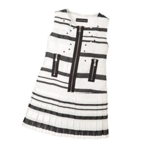CESARE PACIOTTI Stripy Black & White Organza Dress with Zips