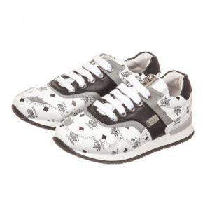 CESARE PACIOTTI White & Black Leather Logo Trainers