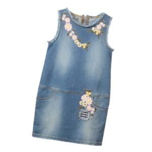 ERMANNO SCERVINO Blue Cotton Denim Dress with Embroidery