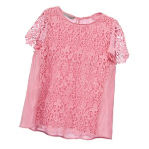 ERMANNO SCERVINO Girls Pink Lace Blouse