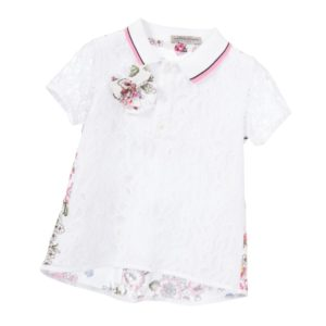 ERMANNO SCERVINO Girls White Lace & Floral Blouse