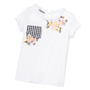 ERMANNO SCERVINO Girls White T-Shirt with Embroidered Flowers