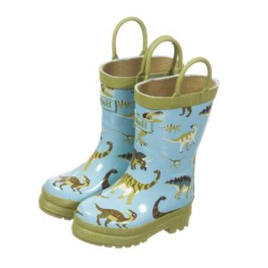 HATLEY Boys Blue & Green 'Wild Dino' Wellies