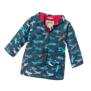 HATLEY Boys Teal Blue 'Aeroplanes' Hooded Raincoat