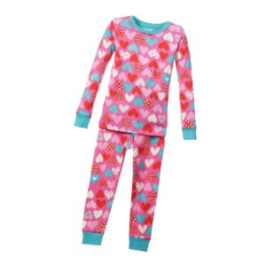 HATLEY Girls Pink 'Heart' Cotton Jersey Pyjamas