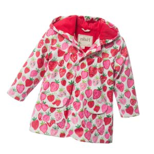 HATLEY Girls Pink & Red 'Strawberries' Hooded Raincoat