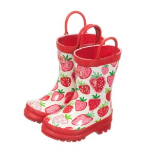 HATLEY Girls Pink & Red 'Strawberry Sundae' Wellies