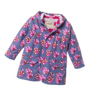 HATLEY Girls Purple 'Ladybirds' Print Hooded Raincoat