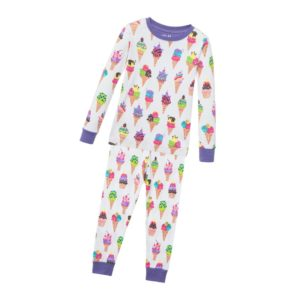 HATLEY Girls White 'Ice Cream' Cotton Jersey Pyjamas