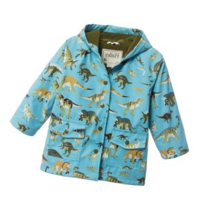 HATLEY Pale Blue 'Dinosaurs' Print Hooded Raincoat