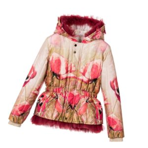 JUNONA Girls Padded Floral Hooded Butterfly Jacket
