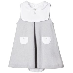 LARANJINHA Baby Girls Grey Dress & Bib 2 Piece Set