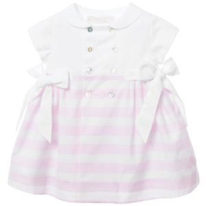 LARANJINHA Baby Girls Pink & White Striped Dress & Knickers