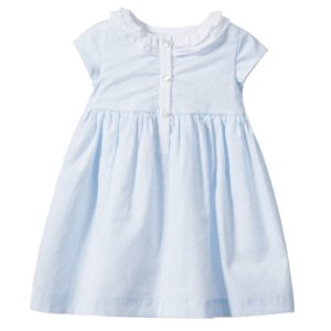 LARANJINHA Blue Polka Dot Cotton Dress