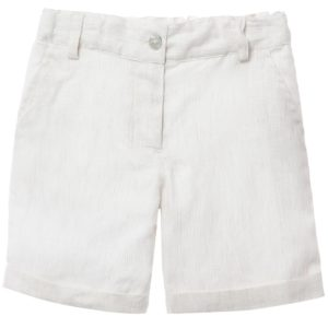 LARANJINHA Boys Beige & White Striped Linen Shorts