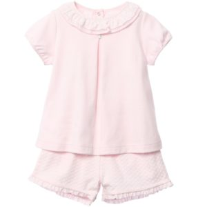 LARANJINHA Girls Pink Cotton Jersey Short Pyjamas