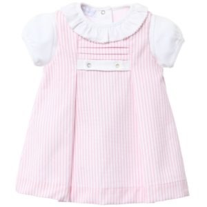 LARANJINHA Girls Pink Striped 3 Piece Dress Set