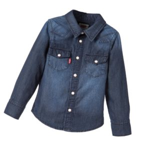 LEVI'S Girls Faded Blue Denim Shirt