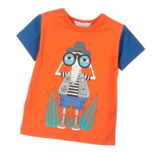 LITTLE MARC JACOBS Baby Boys Blue & Orange 'Safari' Print T-Shirt