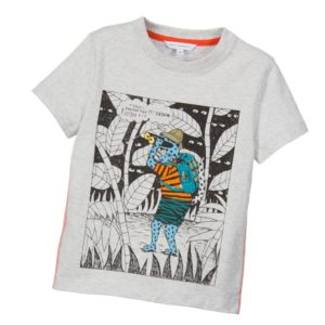 LITTLE MARC JACOBS Boys Grey Safari Print T-Shirt