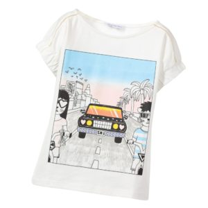 LITTLE MARC JACOBS Girls Ivory Car Print T-Shirt