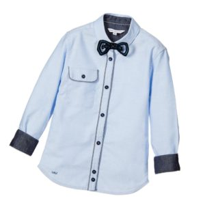 LITTLE MARC JACOBS Pale Blue Oxford Cotton Shirt with Bow Tie