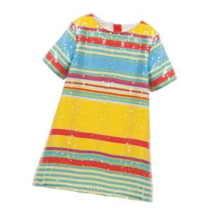 LITTLE MARC JACOBS Yellow, Red & Blue Striped Sequin Dress