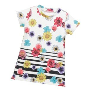 LIU JO White Quilted Floral Print Dress