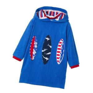 MITTY JAMES Blue Surf Board Hooded Cotton Towelling Robe