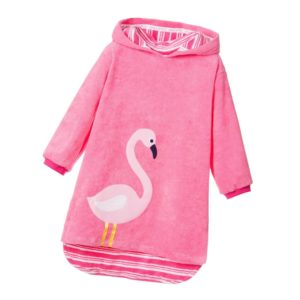 MITTY JAMES Girls Pink Flamingo Hooded Towelling Robe