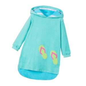 MITTY JAMES Girls Turquoise Green Hooded Cotton Towelling Robe