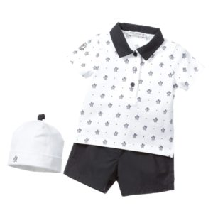 MONCLER Baby Boys Shorts, Polo Shirt & Hat 3 Piece Gift Set