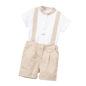 PATACHOU Boys 2 Piece Shirt & Braces Shorts Set