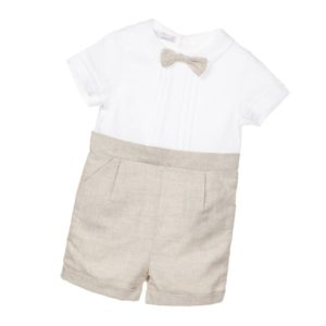 PATACHOU Boys Ivory & Beige Linen & Cotton Shortie