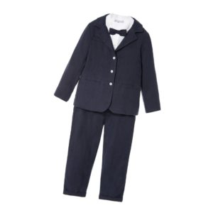 PATACHOU Boys Navy Blue 5 Piece Linen Trouser Suit