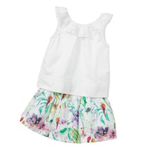 PATACHOU Girls Green Floral Skirt & White Top Set