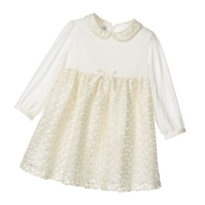 PATACHOU Ivory Chiffon & Glitter Lace Dress