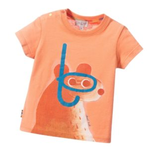 PAUL SMITH JUNIOR Baby Boys Orange Snorkel Bear 'Lino' T-Shirt