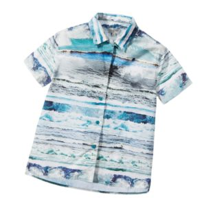 PAUL SMITH JUNIOR Boys Blue Striped Waves 'Lucilien' Shirt
