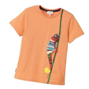 PAUL SMITH JUNIOR Boys Orange 'Leoncio' Chameleon T-Shirt