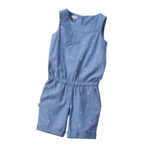PAUL SMITH JUNIOR Girls Blue Embroidered Chambray 'Lelia' Playsuit